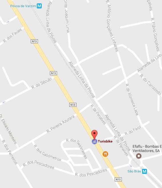 Localização da Turisbike no Google Maps
