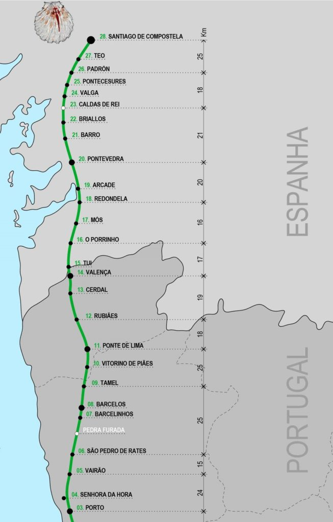 Map of Paths of Santiago Compostela Central Portuguese