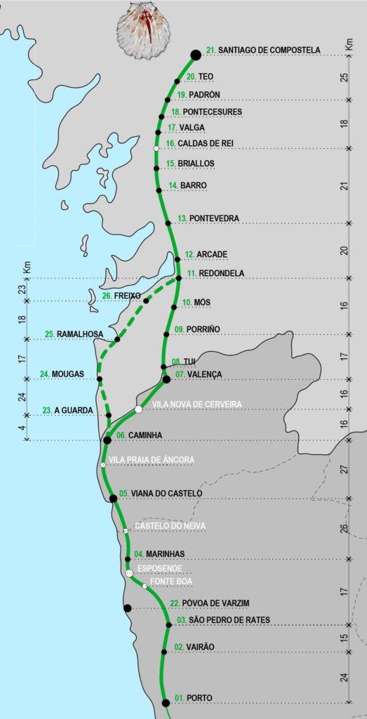 Mapa do Caminho português da costa para Santiago