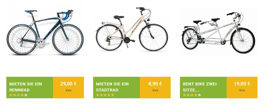 Rent city or road bikes and two-seater bikes